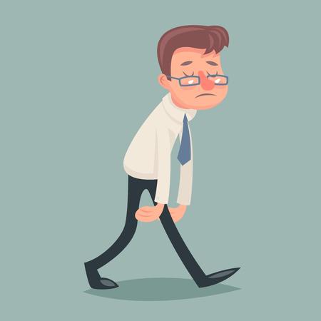 weary: Vintage Businessman Walk Sad Tired Weary Character Icon Stylish Background Retro Cartoon Design Vector Illustration Illustration