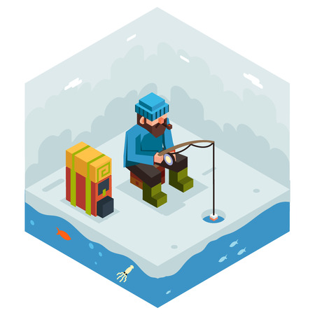 frozen fish: Ice Fishing Winter Activity Vacation Icon Flat Design Isometric Vector Illustration