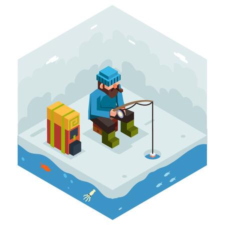 ice fishing: Ice Fishing Winter Activity Vacation Icon Flat Design Isometric Vector Illustration