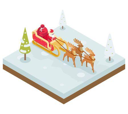 santa claus: Santa Claus abuelo Regalos Escarcha trineo del reno del A�o Nuevo Ilustraci�n isom�trica de Navidad plana Dise�o Icono de plantilla de vectores