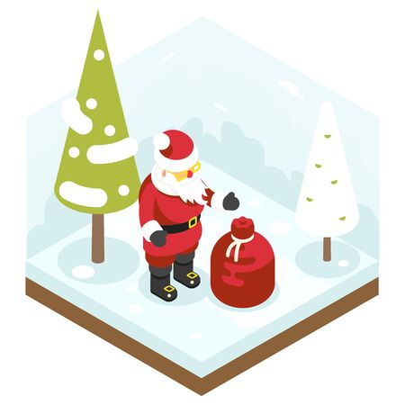grandfather frost: Santa Claus Grandfather Frost Bag Gifts New Year Christmas Isometric Flat Design Icon Template Vector Illustration Vectores