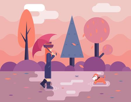 puddles: Autumn walk dog puddles umbrella nature park concept flat design landscape background template vector illustration