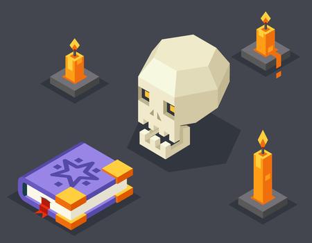 holliday: Night Wisdom Magic Icon Skull Spellbook Candles Flat Isometric 3d Vector Illustration Illustration