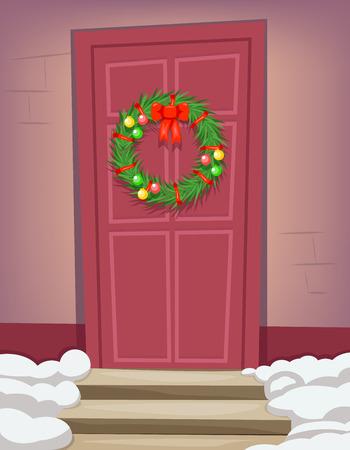 family celebration: Christmas New Year Dinner Celebration Door Cartoon Vector Illustration