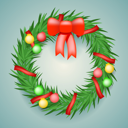 inkle: Wreath Balls Ribbon Christmas Decoration  Vector Illustration