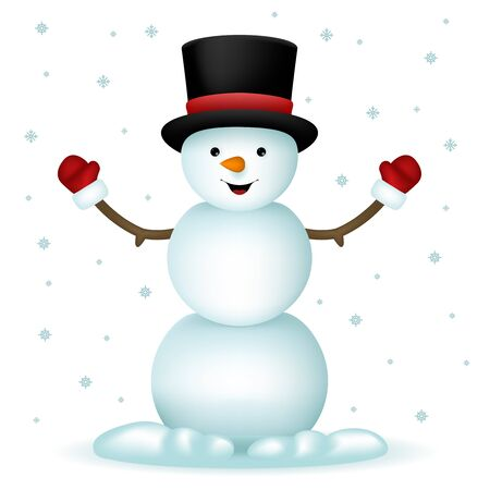 snowman hat: Realistic Snowman Happy Cartoon  New Year Toy Character Icon Isolated Snowflakes Background Vector Illustration