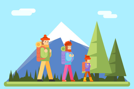 sleeping bags: Autumn Family Trip Concept Flat Icon Mountain Forest Background Vector Illustration Illustration