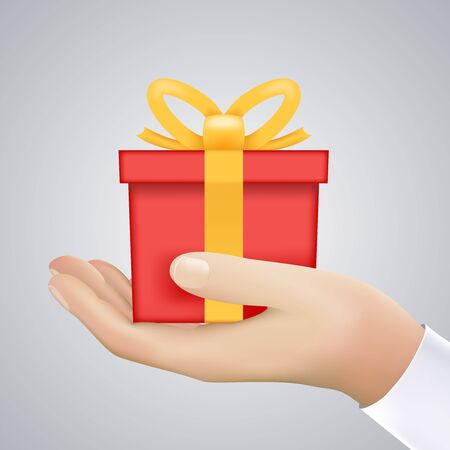 give: Realistic Hand Holding Cristmas Winter New Year Giftbox Present Vector Illustration
