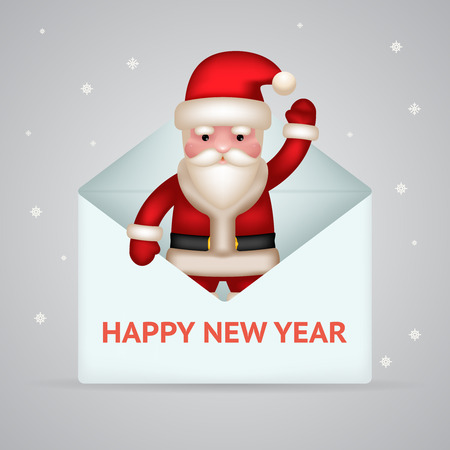 christmas mail: Santa claus giftbox new year merry christmas greeting card design concept letter mail template vector illustration