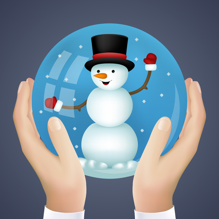 cristmas: Realistic Hand Holding Cristmas Winter New Year Snowball Snowman Icon Vector Illustration