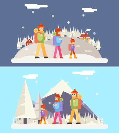 family trip: Winter Family Trip Concept Flat Icon Mountain Forest Vilage Background Vector Illustration Illustration