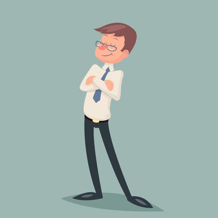 personaje: El hombre de negocios de la vendimia Orgulloso derecho Clever ganador de carácter de fondo del icono con estilo retro Ilustración de dibujos animados de diseño vectorial Vectores