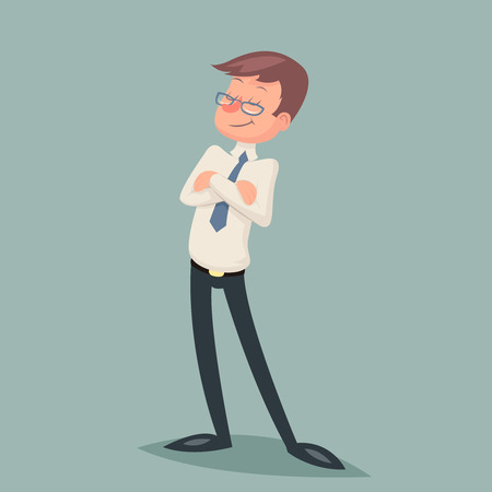 office worker: Vintage Businessman Standing Proud Clever Winner Character Icon Stylish Background Retro Cartoon Design Vector Illustration