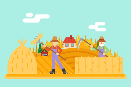 agrarian: Autumn hay peasant harvestman harvest Icon Village Hills Field Landscape Background Flat Design Vector Illustration