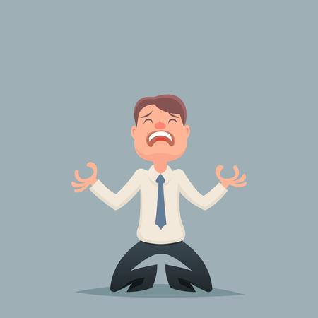 depresi�n: La desesperaci�n del hombre de negocios de la vendimia afligidos icono del car�cter de fondo con estilo retro Ilustraci�n de dibujos animados de dise�o vectorial Vectores