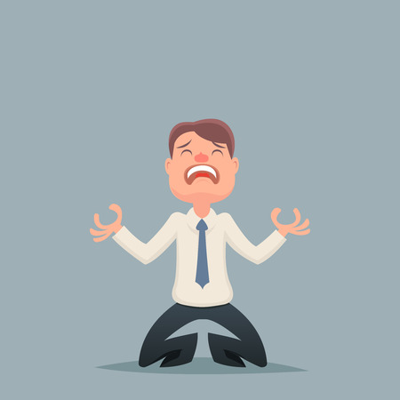 economic depression: Vintage Businessman Despair Suffer Grief Character Icon Stylish Background Retro Cartoon Design Vector Illustration