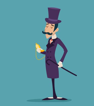 Zegar Vintage Victorian Wielka Brytania Gentleman Biznesmen Cartoon Character Ikona stylowe tło Ilustracja Cartoon retro wektora projektowania