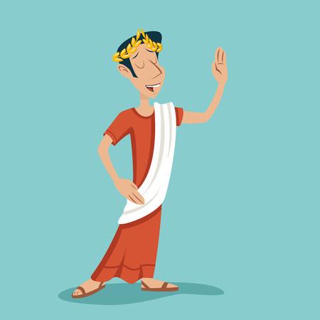 Greek Roman Retro Vintage Cartoon Businessman Character Icon Fond Design élégant vecteur Illustration