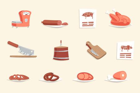 carne de res: Ilustración de la salchicha del perrito caliente de la carne de la carnicería de dibujos animados retro del diseño del vector del icono