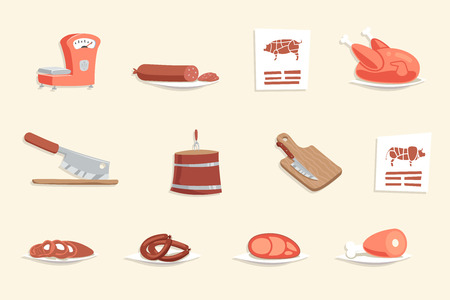 fillet: Sausage Hotdog Meat Butcher Shop Retro Vintage Cartoon Design Icon Vector Illustration Illustration