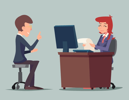 computadora caricatura: Conversaci�n tarea entrevista de trabajo de negocios en la mesa de trabajo en la historieta del ordenador caracteres de fondo del icono con estilo retro Ilustraci�n de dibujos animados de dise�o vectorial