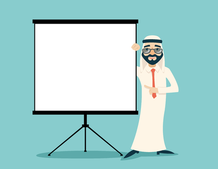 presentation board: Retro Vintage Successful Arab Businessman Traditional National Muslim Clothes Cartoon Character White Board Presentation Icon on Stylish Background Retro Cartoon Design Vector Illustration Illustration