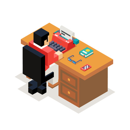 type writer: Writer reporter office workroom typewriter accessories isometric design vector illustration