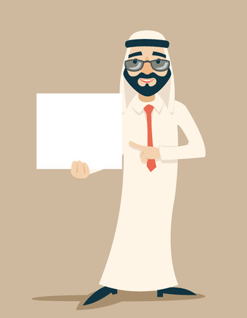 cartoon clothes: Arab Businessman Traditional National Muslim Clothes Cartoon Character White Board Presentation Icon Stylish Background Retro Cartoon Design Vector Illustration