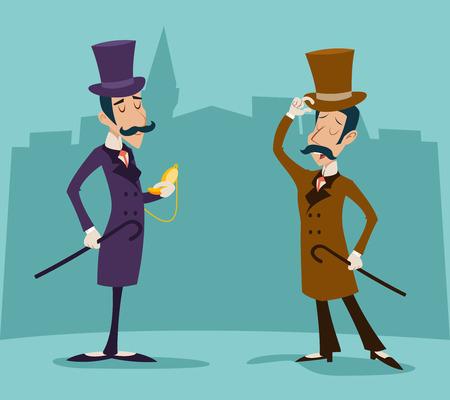 Victoriaanse Gentleman Meeting Zakenman stripfiguur pictogram Stijlvolle Engels Achtergrond van de Stad Retro Vintage Groot-Brittannië Ontwerp Vector