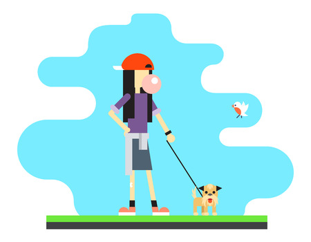 personnage: Geek Hipster Fille Lifestyle Bird Dog Sky Background Concept Flat Vector Illustration