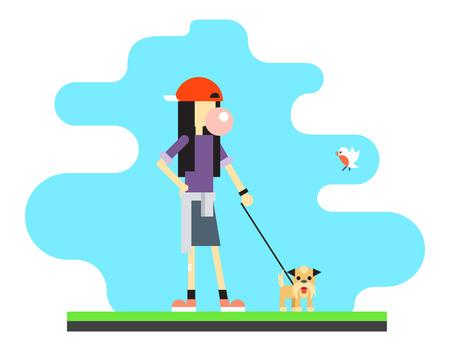 geek: Geek Hipster lifestyle muchacha Sky Bird Dog Concepto ilustración de fondo plano vectorial