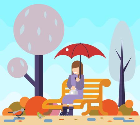 puddles: Happy girl sit bench park watch birds puddles umbrella autumn nature park concept flat landscape background template vector illustration