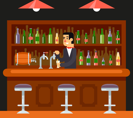 nightclub bar: Pub Bar Restaurant Cafe Barkeeper Character Symbol Alcohol Beer House Interior Icon Background Concept Flat Template  Vector Illustration Illustration