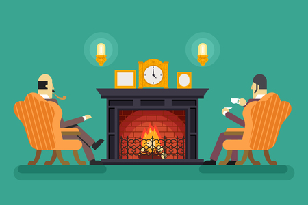 moon chair: Gentlemen Fireplace Tea Drink Evening Discussing Business Concept Icon Background Flat Design Vector Illustration Illustration