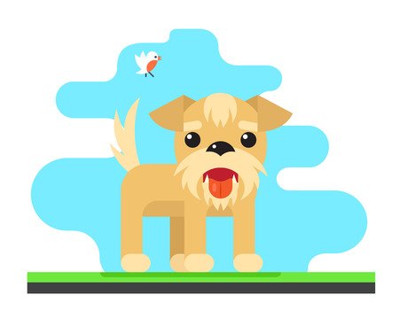 drool: Funny Dog Bird Sky Background Concept Design Vector Illustration Illustration