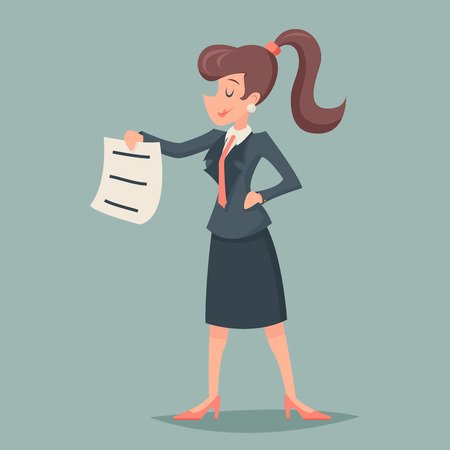 expense: Vintage Businesswoman offer sign document through expense Character Icon Stylish Background Retro Cartoon Design Vector Illustration