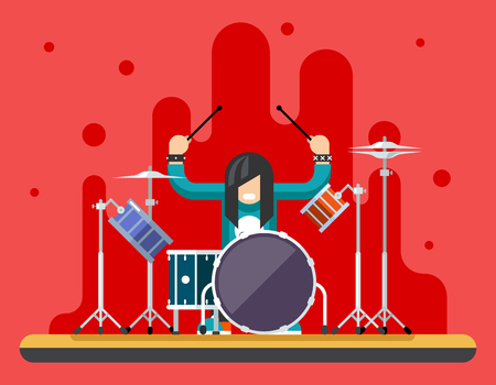 Antecedentes Drummer Drum set de iconos de Hard Rock Pesado de la música tradicional Ilustración vectorial Concepto Flat Ilustración de vector