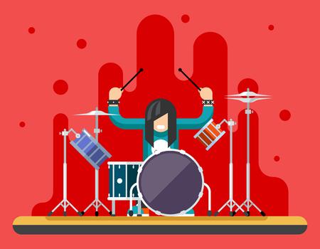 tambor: Antecedentes Drummer Drum set de iconos de Hard Rock Pesado de la m�sica tradicional Ilustraci�n vectorial Concepto Flat Vectores