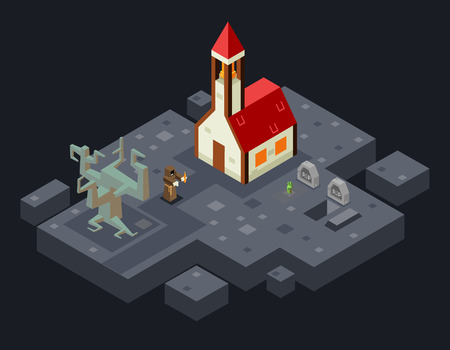 cursed: Cursed Church Ghost Monk Evil Tree Grave Flat Design Isometric Vector Illustration
