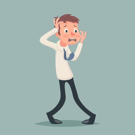 fear: Vintage Businessman Suffer Emotion Fear