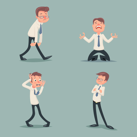 anxious: Businessman Suffer Emotion Fear Horror Depression Sadness Anger Arrogant Contempt Melancholy Stress Character Icons Set Stylish Background Retro Vintage Cartoon Design Vector Illustration Illustration