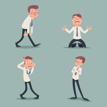desprecio: El hombre de negocios Suffer Emoción Horror Miedo Depresión Tristeza Ira arrogante desprecio melancolía estrés de caracteres Conjunto de iconos de fondo con estilo retro Ilustración de dibujos animados de la vendimia del diseño del vector Vectores
