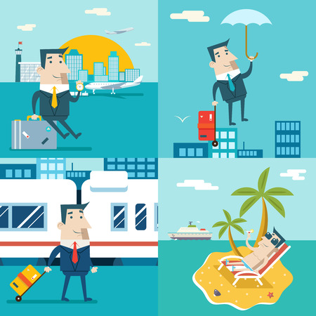 modern train: Businessman Cartoon Character Travel Train Ship Airplane Mobile Business Marketing Urban Sky Background flat Design Vector Illustration Illustration