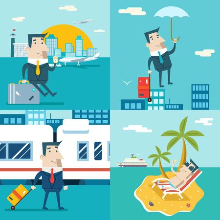obrero caricatura: Personaje de dibujos animados del hombre de negocios Viaje avi�n barco tren de Marketing M�vil de visita del cielo urbano Fondo plana de dise�o de ilustraci�n vectorial