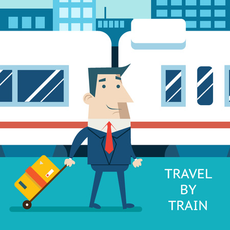 modern train: Cartoon Businessman Character Travel Vacation Mobile Business Marketing Railway Station Background Flat Design Vector Illustration