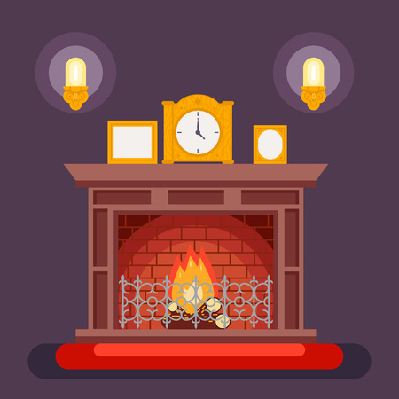discussing: Fireplace Evening Discussing Concept Icon Background Flat Vector Illustration Illustration