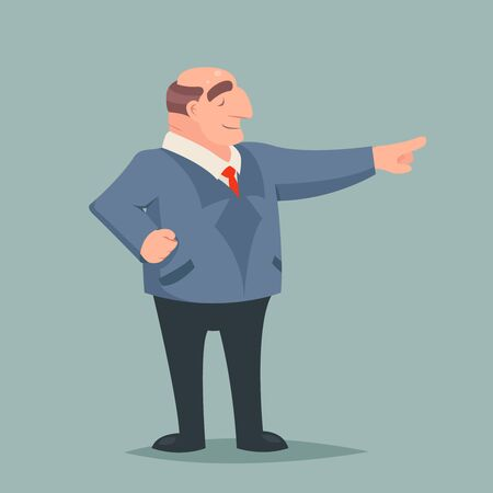 rigorous: Vintage Art Businessman Big Boss Leader Character Points  Way Prosperity Success Wealth Icon Isolated Stylish Background Retro Cartoon Design Vector Illustration