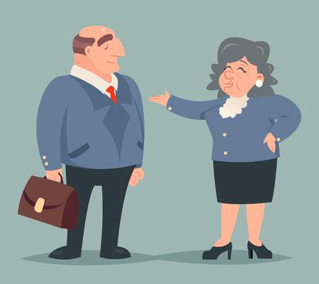 prosperidad: Vintage Art Talk adulto Conversación Demostración del hombre de negocios de caracteres Puntos manera Prosperidad Éxito Riqueza icono aislado de fondo con estilo retro Ilustración de dibujos animados de diseño vectorial