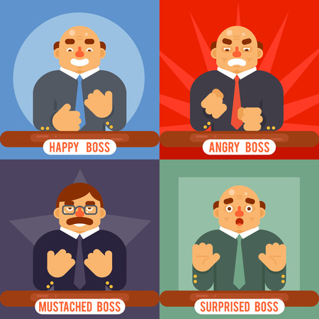 surprised: Happy Surprised Mustache Angry Adult Boss Emotions Set Character Symbol Business Icon Background Concept Flat Template Vector Illustration Illustration