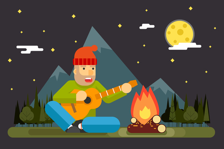 sings: Traveler Sings Plays Night Camp Guitar Campfire Forest Mountain Flat Background Template Vector Illustration